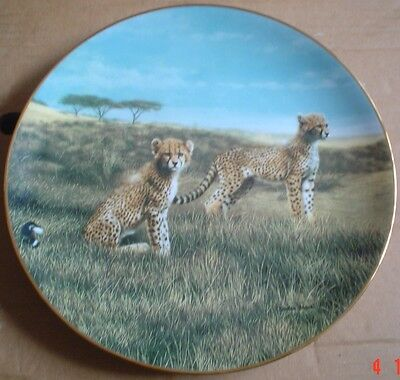 W S George Collectors Plate RECESS Cheetah Cubs