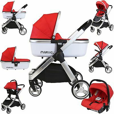 Marvel 3in1 Pram - Red Pearl Pram Travel System (+ Luxury Carrycot + Car Seat)