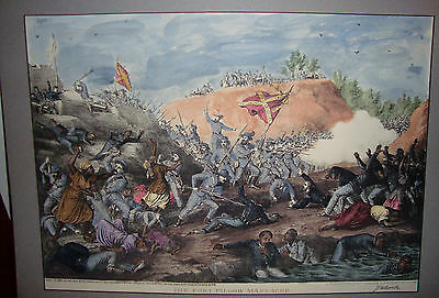 """1864 The Fort Pillow Massacre """"Rare"""" Hand Colored Lithograph, Signed by Artist"""