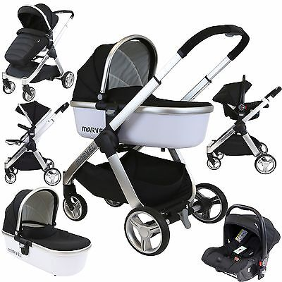 Marvel 3in1 Pram - Black Pearl Pram Travel System (+ Luxury Carrycot + Car Seat)