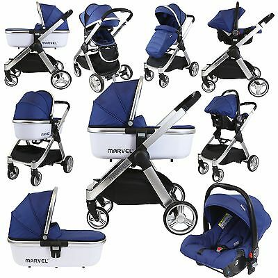 Marvel 3in1 Pram - Navy Pearl Pram Travel System (+ Luxury Carrycot + Car Seat)