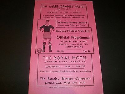 BARNSLEY   v HULL CITY  League  April 1st  1949/50 with full match report