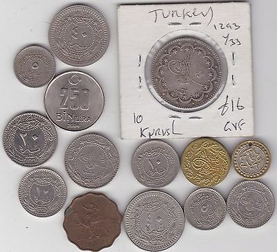 14 Mixed Coins & Items From Turkey In Fine Or Better Condition