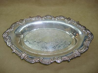 Lovely Vintage Sheridan Silver On Copper Heavy Ornate Footed Oval Bowl!