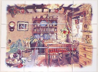 "Antique Kitchen 12 pc Ceramic Tile Mural 17"" x 12.75"" Kiln Fired BISCUIT"