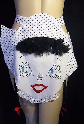 Vtg 1950s  Novelty Girl with Knit Long Braids & Stitched Features Half Apron