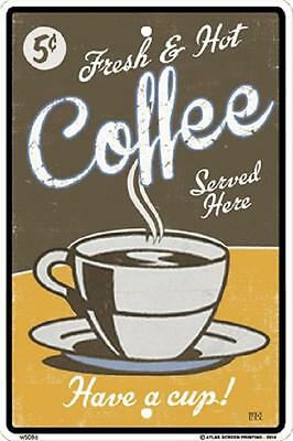 """Fresh Coffee Metal  Sign 10"""" x 15""""  made in USA Vintage Look #WS086"""
