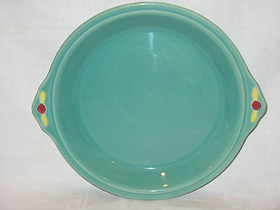 Vintage Coors Rosebud Pottery Pie Plate Dish Green Handled ~ Beautiful! ~