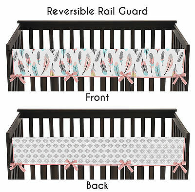 Sweet Jojo Coral Feather Front Rail Guard Crib Cover Baby Teething Protector
