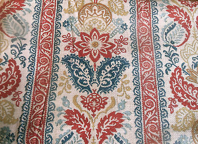 Antique19thc French Rare Provencal Floral Fabric ~Red Indigo Blue Caramel Ochre