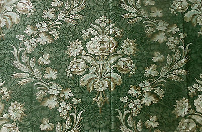 Antique 19thc French Floral Grape Wheat Fabric Rare Moss Sea Glass Green ~