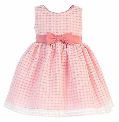 New Flower Girls Striped Coral Organza Dress Baby Kids Easter Wedding Party 733
