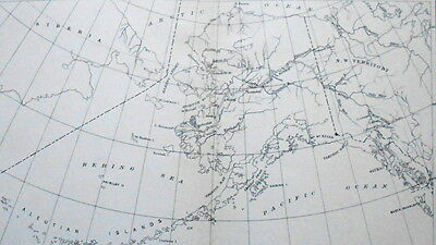 1893 MAP Sketch Map of Alaska.Old George Harris Lithograph.