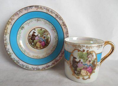 Lefton China Victoria Couple Demitasse Lusterware Cup & Saucer Japan #1798
