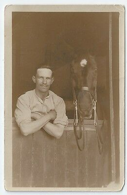 ~WW1 2nd Life Guards Man with horse in stable Unused Real Photo Postcard