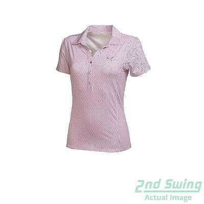 New Womens Puma Snap Print Graphic Golf Polo Small Plum/Cayenne 569068 MSRP $65
