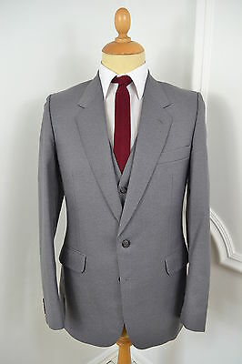 VINTAGE 1970's GREY CENTAUR THREE PIECE WOOL SUIT WAISTCOAT SMALL 38 REGULAR