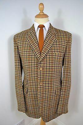 VINTAGE 1960's HARDY AMIES SCOTCH TWEED WOOL BROWN BLAZER JACKET LARGE 42 REG