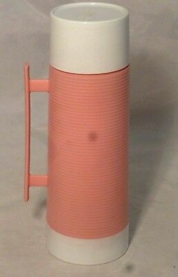Vintage, Aladdin, Dura Clad Thermos, Pink & White Plastic Ribbed,  #2630, Pint