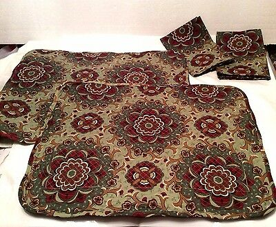 2 Quilted Placemats & 2 Napkins AUTUMN ROADS Longaberger Burgundy Sage New InBag