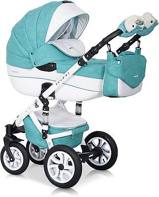 RIKO BRANO ECCO PRAM MALACHIT-15  3in1  CARRYCOT + PUSH CHAIR + CAR SEAT