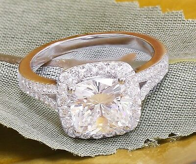 14k White Gold Cushion Forever One Moissanite and Diamond Engagement Ring 2.20ct