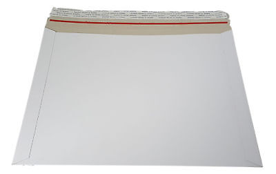 100 - 9.75x12.25 9 3/4 12 1/4  Stay Flat Rigid Mailer Cardboard White Envelope