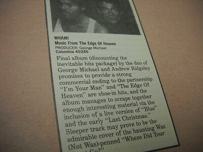 WHAM! original 1986 music biz promo only album review MUSIC FROM EDGE OF HEAVEN