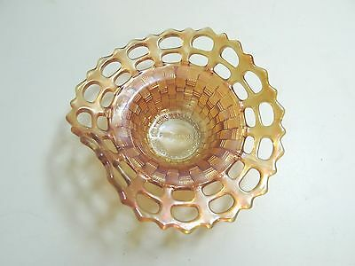 FENTON MERIGOLD CARNIVAL GLASS BASKET WEAVE BOWL ADVERTISING MILLER FURNITURE n1