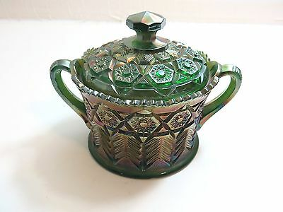 Vintage Cambridge Green Carnival Glass Inverted Feather Covered Cookie Jar Bowl