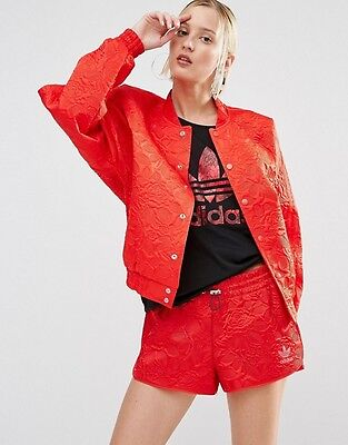2016ADIDAS WOMEN 70s FLORAL JACQUARD BOMBER JACKET AY6733 Red Lace Track Top