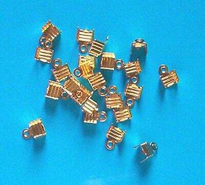 50 gold plated ridged folding crimps/ends for thong, findings for jewellery