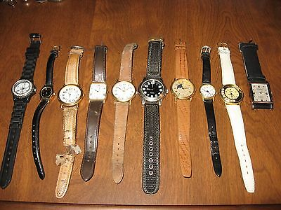Lot of 10 watches - leather straps