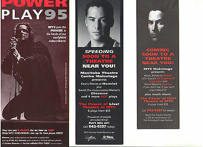 Keanu Reeves Hamlet Winnipeg Manitoba Canada 1995 Promotional Theatre Items Lot