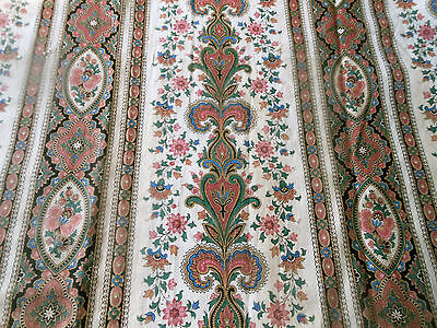 Antique French Provincial Medallion Floral Cotton Fabric #3~ Rose Blue Green