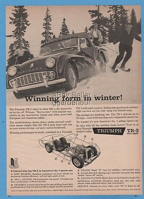 1960 Triumph TR-3 convertible sports car Snow skiing skier ski instuctor ad