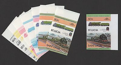 St. Lucia 1983 Trains Sc 619 SG 655-6 Imperf Forgery With Genuine Color Proofs!
