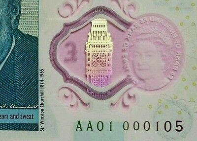 Aa01 000105 (Rare) New, Uncirculated £5 Polymer Note Lowest Serial On Ebay.