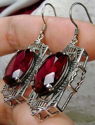 Oval*Red Ruby* Art Deco Sterling Silver Filigree Dangle Earrings {Made To Order}
