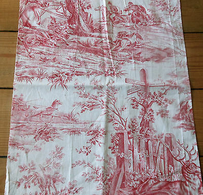 Antique French Red Equestrian Hunt Toile Cotton Fabric ~ Horses Dogs Stag