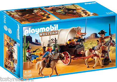 NEW and COMPLETE Playmobil Western - Covered Wagon with Raiders 5248