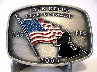 John Deere Waterloo Works WAS PEC FIRE BRIGADE Belt Buckle 2003 Employee Ltd Ed