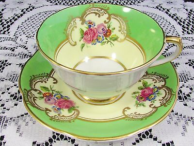 Collingwood Lime Green Fancy Gold Floral Tea Cup And Saucer
