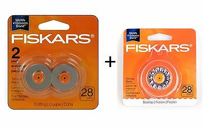 Fiskars 28mm Blades Style F for Rotary Paper Trimmers - Straight & Scallop Blade