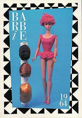 """Barbie Collectible Fashion Trading Card  """" Miss Barbie """" Wigs, Toupee, Doll 1964"""