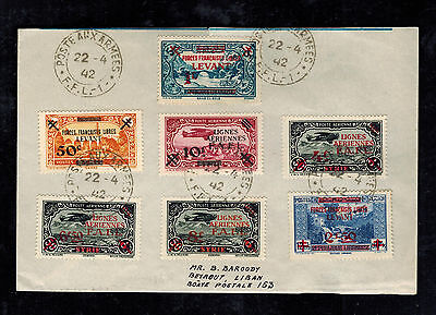 1942  FFL Army Post Syria Airmail cover  to Lebanon # MC1-MC4 M1-M3