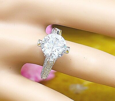 14K White Gold Round Forever One Moissanite and Diamond Engagement Ring 2.20ct