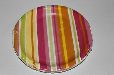 Beautiful Pink Green Yellow Striped Paper Plates 8 Per Pack 6 And 3/4 In New