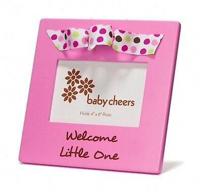 Picture Photo Frame Pink Welcome Little One Baby Girl Ribbon Decor Gift Box