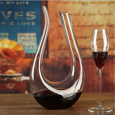 1.5L Lead-free U shaped Crystal Glass Horn Wine Decanter Wine Pourer Container